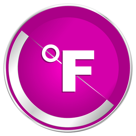 Fahrenheit web design violet silver metallic border internet icon.