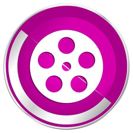 Film web design violet silver metallic border internet icon.