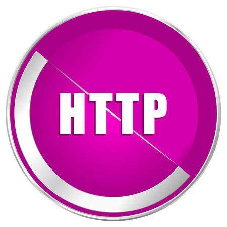 http: Http web design violet silver metallic border internet icon.