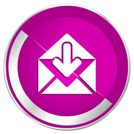 Email web design violet silver metallic border internet icon.