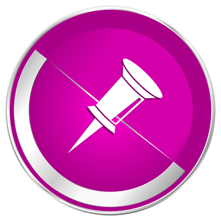Pin web design violet silver metallic border internet icon. Stock Photo