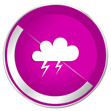 Storm web design violet silver metallic border internet icon.
