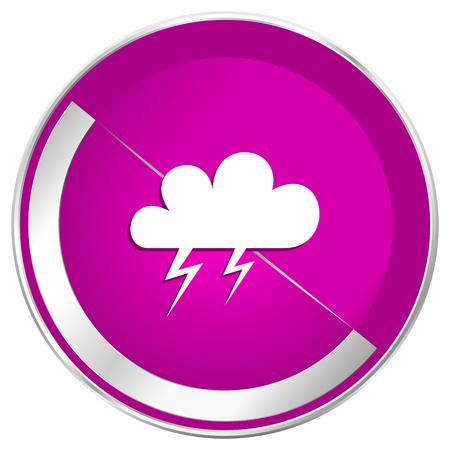 Storm web design violet silver metallic border internet icon.