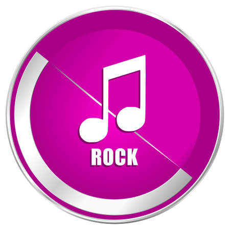 Rock music web design violet silver metallic border internet icon.
