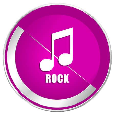 listen live stream: Rock music web design violet silver metallic border internet icon.