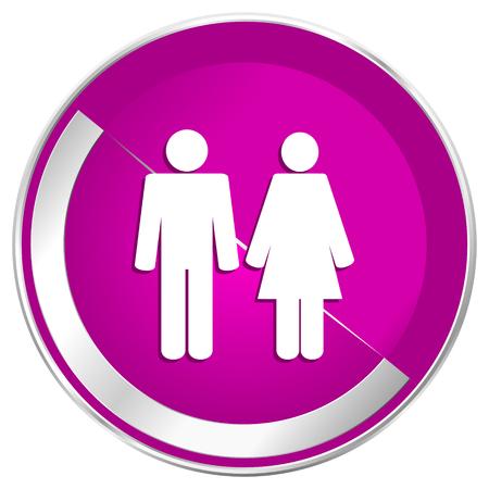 heterosexual: Couple web design violet silver metallic border internet icon.