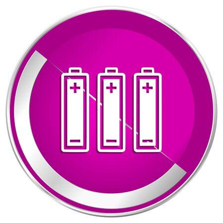 accuse: Battery web design violet silver metallic border internet icon.