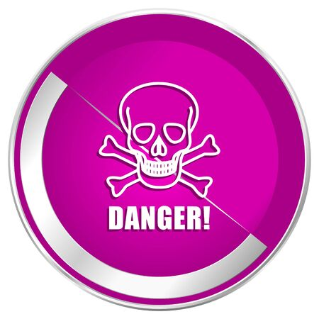 poison: Danger skull web design violet silver metallic border internet icon.