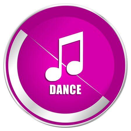 Dance music web design violet silver metallic border internet icon.