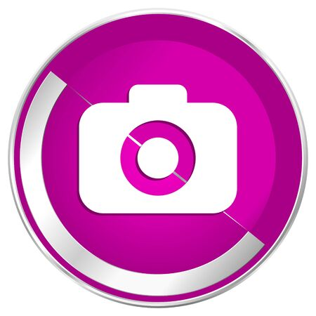 Photo camera web design violet silver metallic border internet icon.