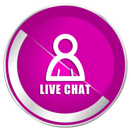 Live chat web design violet silver metallic border internet icon. Stock Photo