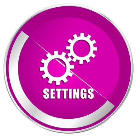 Settings web design violet silver metallic border internet icon. Stock Photo