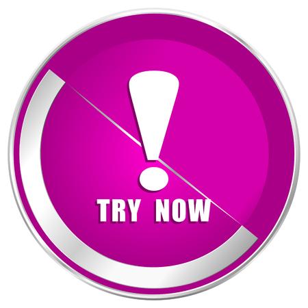 Try now web design violet silver metallic border internet icon.