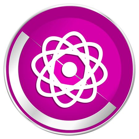 radioactive sign: Atom web design violet silver metallic border internet icon.