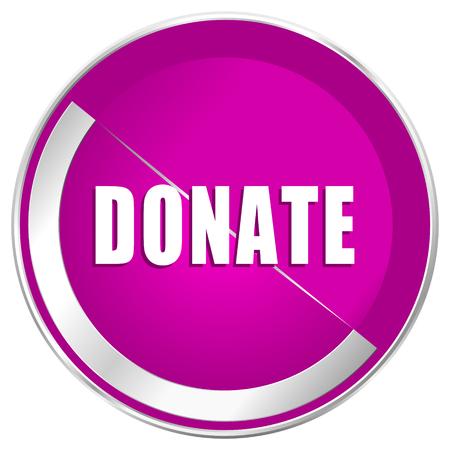 Donate web design violet silver metallic border internet icon.