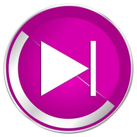 Next web design violet silver metallic border internet icon. Stock Photo