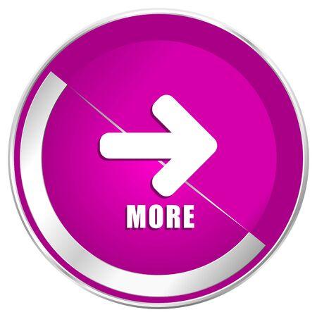 More web design violet silver metallic border internet icon.