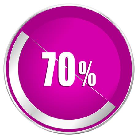70 percent web design violet silver metallic border internet icon.