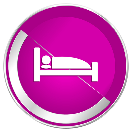 Hotel web design violet silver metallic border internet icon.