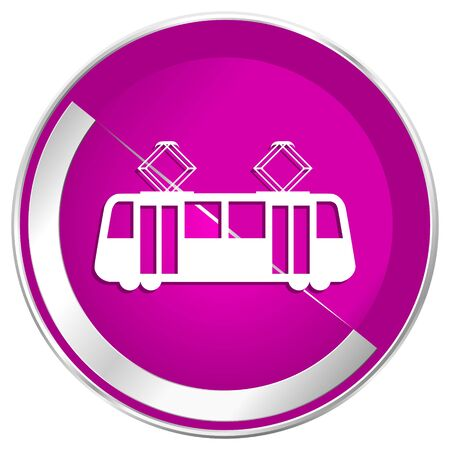 Tram web design violet silver metallic border internet icon.