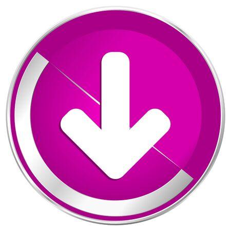 Download arrow web design violet silver metallic border internet icon.