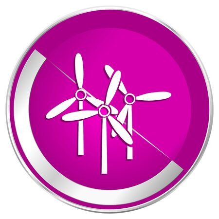 steel mill: Windmill web design violet silver metallic border internet icon.
