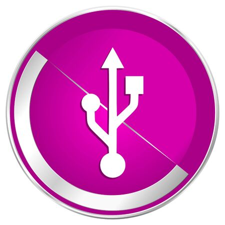 Usb web design violet silver metallic border internet icon. Stock Photo
