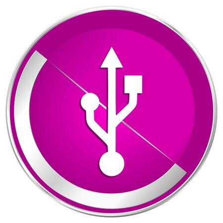 pendrive: Usb web design violet silver metallic border internet icon. Stock Photo