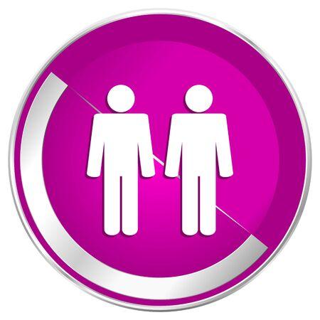 gay men: Couple web design violet silver metallic border internet icon.