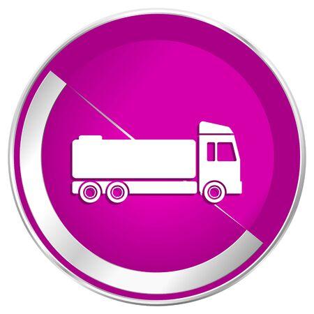 Truck web design violet silver metallic border internet icon. Stock Photo