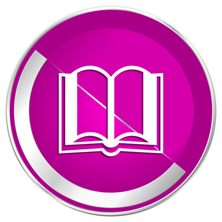 Book web design violet silver metallic border internet icon. 版權商用圖片