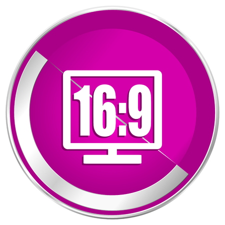 16 9 display: 16 9 display web design violet silver metallic border internet icon. Stock Photo