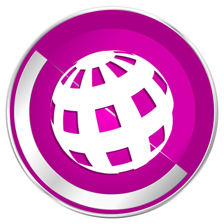Earth web design violet silver metallic border internet icon. Stock Photo