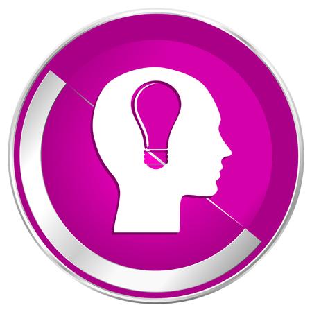 Head web design violet silver metallic border internet icon.