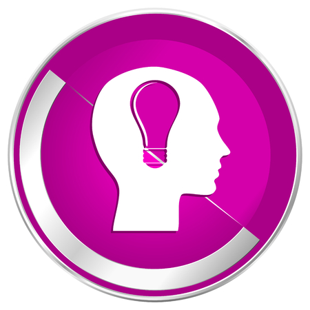 keen: Head web design violet silver metallic border internet icon.
