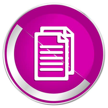 Document web design violet silver metallic border internet icon.