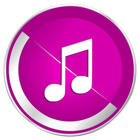 melodic: Music web design violet silver metallic border internet icon. Stock Photo