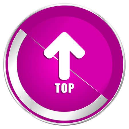 Top web design violet silver metallic border internet icon.