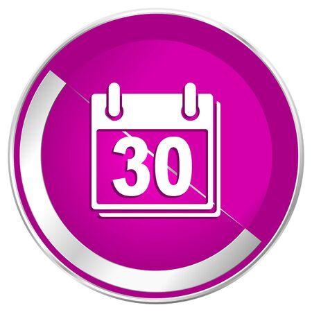 appointment book: Calendar web design violet silver metallic border internet icon. Stock Photo