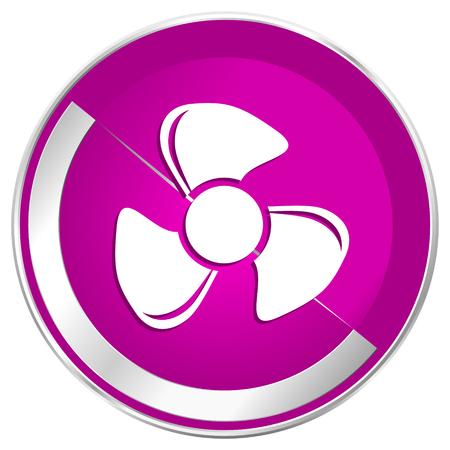 Fan web design violet silver metallic border internet icon. Stock Photo