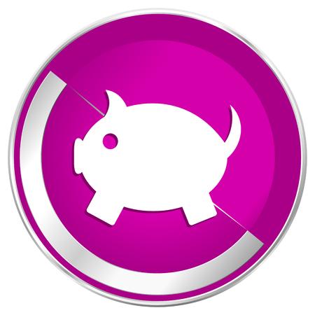Piggy bank web design violet silver metallic border internet icon.
