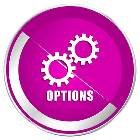 Options web design violet silver metallic border internet icon.