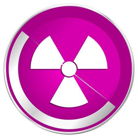 Radiation web design violet silver metallic border internet icon. Stock Photo