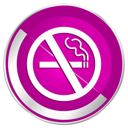 No smoking web design violet silver metallic border internet icon.