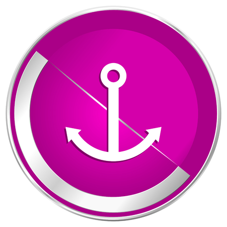 motorboat: Anchor web design violet silver metallic border internet icon. Stock Photo