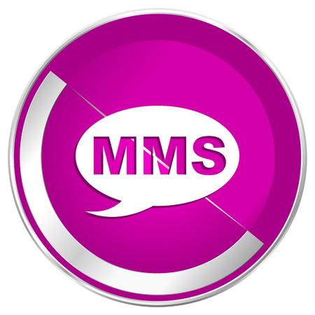 Mms web design violet silver metallic border internet icon. Stock Photo
