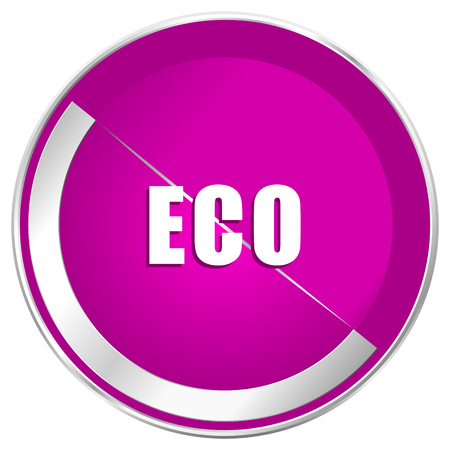Eco web design violet silver metallic border internet icon.