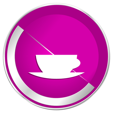 Espresso web design violet silver metallic border internet icon.