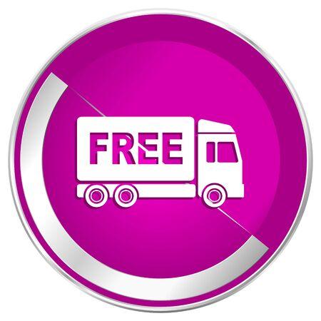 deliverance: Free delivery web design violet silver metallic border internet icon.