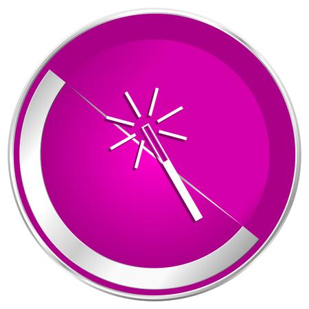 Magic wand web design violet silver metallic border internet icon.